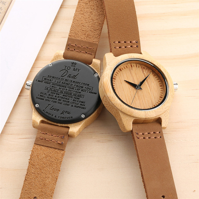 Unique Customized Engraved Wooden Watch Men's Quartz Wrist Watches Best Birthday Anniversary Gifts for Male reloj para hombre 1