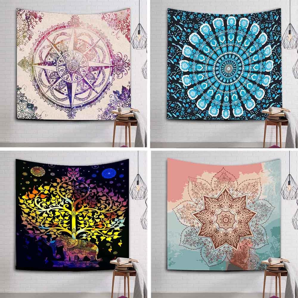 229x150cm Large Mandala Indian Tapestry Wall Hanging Bohemian Beach Towel Polyester Thin Blanket Yoga Mat Rug Shawl Throw Sheet