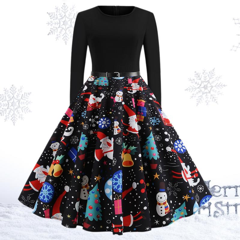 Women Winter Clothing 50S 60S Vintage Christmas Dress Santa Claus Star Snow Ball Print Dress Party Long Sleeve Midi Dresses