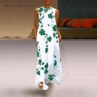 Elegent Loose Casual Dress Women Summer 2019 New Print Maxi Beach Dresses Vintage Ladies Sleeveless Cotton Long Dress For Women