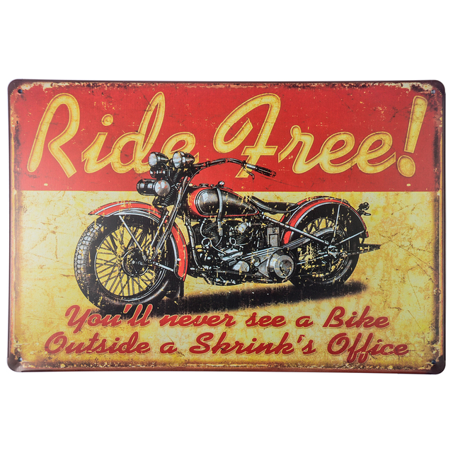 Harley Davidson Motorcycle Patterned Tin Bar Sign