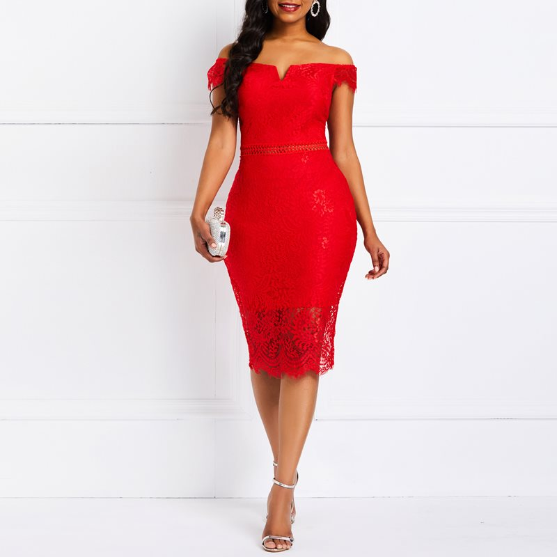 Women Summer <font><b>Dresses</b></font> Vintage Elegant Party <font><b>Red</b></font> Office Lady Bodycon Off Shoulder Solid Hollow Lace Female Fashion Retro <font><b>Dress</b></font> image