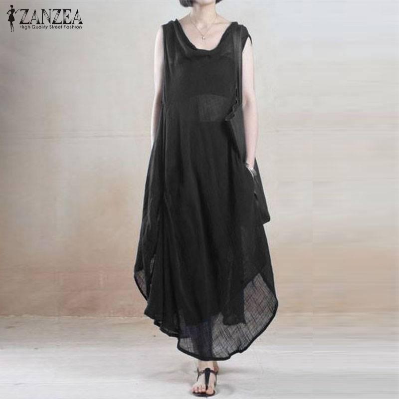 2019 Summer Women Dress Long Maxi  Sundress Ladies Sleeveless Beach Party Robe Femme ZANZEA Womens Cotton Linen Dress Plus Size