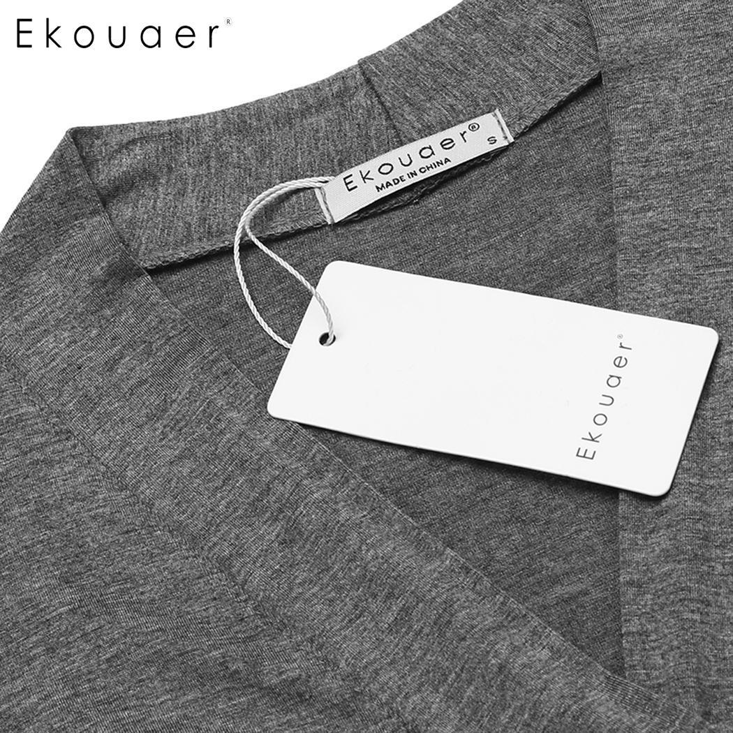 Image 5 - Длинное платье Ekouaer, с треугольным вырезом и длинным рукавом, ночная рубашка, Женские однотонные Повседневные Удобные свободные халатыХалаты    АлиЭкспресс