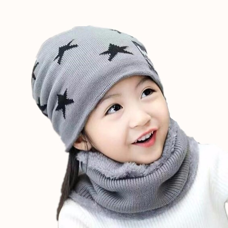 Boy's Hats Kids Beanie Winter Hat Ring Scarf Set Neck Warmer Woolen Ski Cap Ring Scarves Boys Girls Knitted Skullies Benaies Velvet Scarves Boy's Accessories