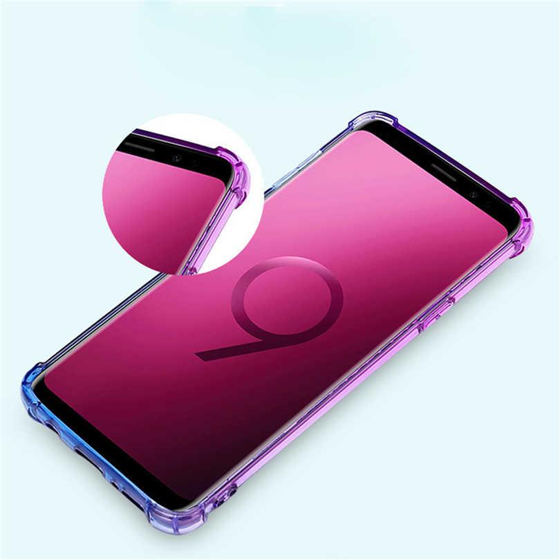 Funda de teléfono gradiente para Samsung Galaxy J2 Pro J4 Core J5 J6 Plus 2018 J7 Prime a prueba de golpes funda de TPU transparente