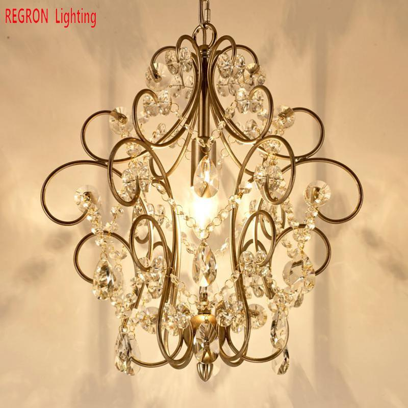 American Rustic Wrought Iron Chandelier Lamp Home Led Chandelier For For Dining Cafe Lounge Aisle Brass Crystal Hanging Light Lights & Lighting