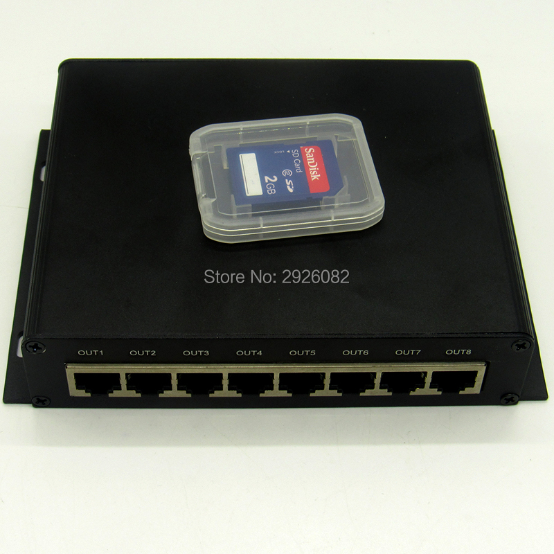 Cartão SD DMX LED pixel controlador de iluminação, 8 portas de saída DMX Controlador (on line/off line/wifi/tempo/DMX/ cinco em um), a 8 DMX - 3