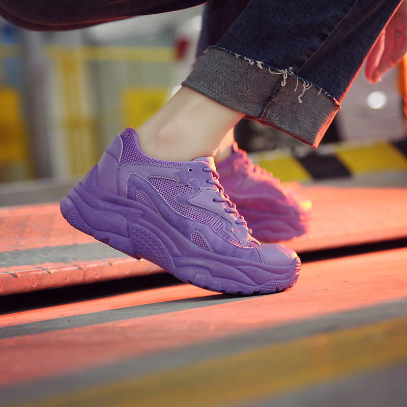Woman Shoe Mesh Student Unique New Violet Ventilation Fashion Sneakers Tenis Feminino Casual Women Zapatos De Mujer Platform in Women 39 s Vulcanize Shoes from Shoes