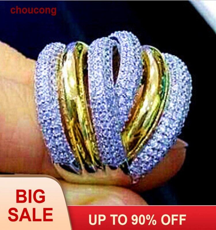 choucong Eternity 236ks Kámen 5A Zirkonový kámen 14KT Bílé a žluté zlato naplněné ženy zásnubní prsten snubní prsten Sz 5-11