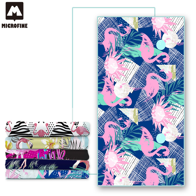 Microfine Flamingo Beach Towel Microfiber Adults Gym Sport Towel Robe Yoga Mat Large Cartoon Animal Outdoor Blanket For kid 2018