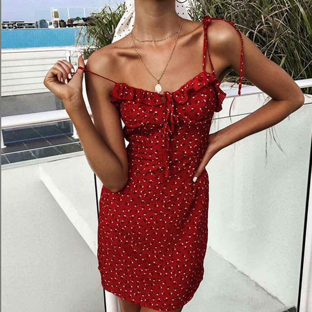 Women's Ladies Floral Short Mini Sleeveless Dress Evening Party Boho Strappy Beach Dresses Summer Sundress Green Red
