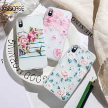 KISSCASE Soft Embossed Flower Phone Case For iPhone XR XS X MAX 7 8 6 6s Plus 5 5s SE Fashion Mobile Coque Fundas Covers