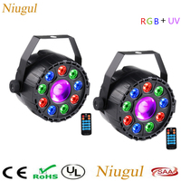 2pcs/lot With Remote Control 9+1 LED Par Light RGB+UV Effect LED Stage Lighing , DMX512 Sound Activated Disco Home Party Lights