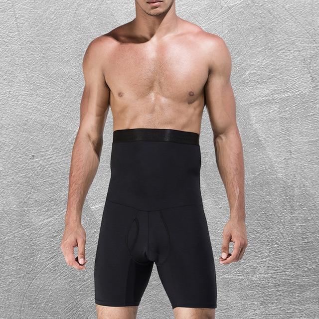 Men High Waist Abdomen Control Panties Elastic Slimming Big Belly Open Crotch Body Shaper Tummy Trimmer Male Stomach Boyshort 4