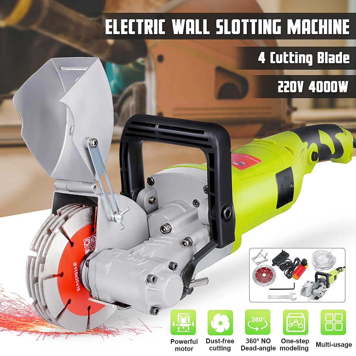 4000W 220V Electric Wall Slotting Machine 7500r//min for Chaser Grooving Cutting
