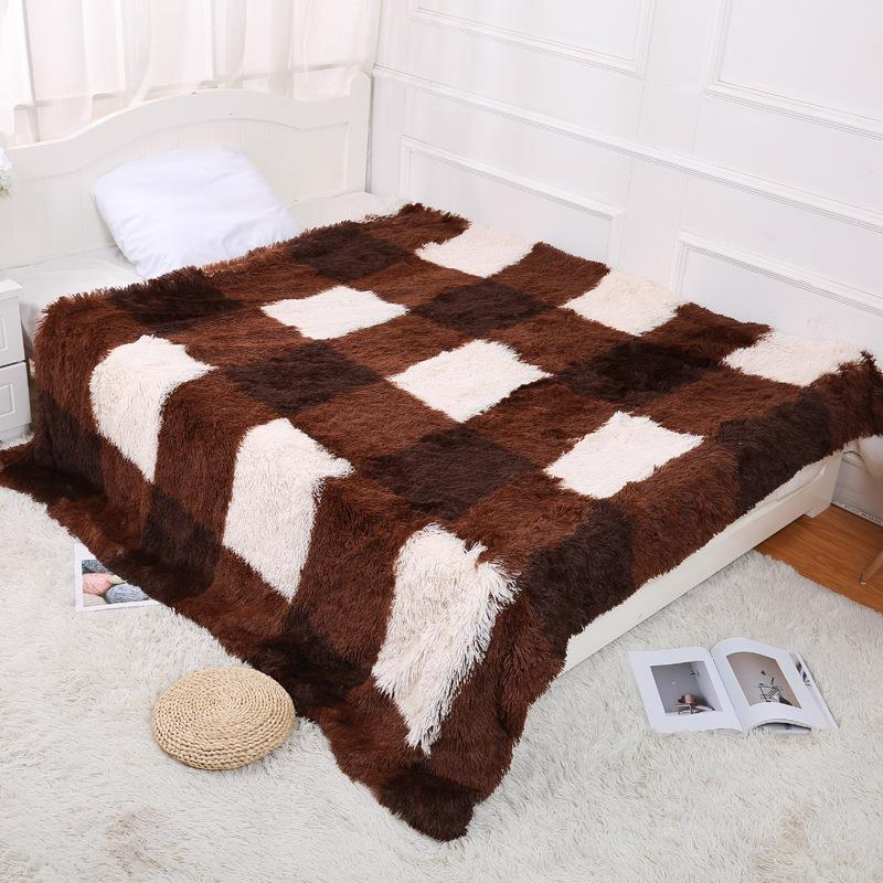 Soft Lattice Long Shaggy Fuzzy Fur Faux Fur Warm Elegant Cozy With Fluffy Sherpa Throw Blanket