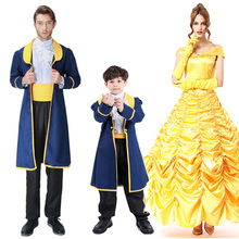Halloween Beauty and The Beast Costume Princess Belle King Women Man Kid Child Parent-child Fantasia Fancy Dress