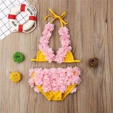 Toddler Kid Baby Girls Petal Flower Swimwear One Piece Suit Lovely Cute Girl Swimsuit Bandage Lace Up Swimwear Bathing Suit