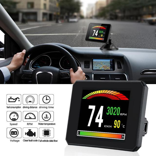 P16 3 Inch LCD Car Head Up Display Auto Intelligent On-Board Computer HUD obd2 Car Speedometerhud Display Car Electronics