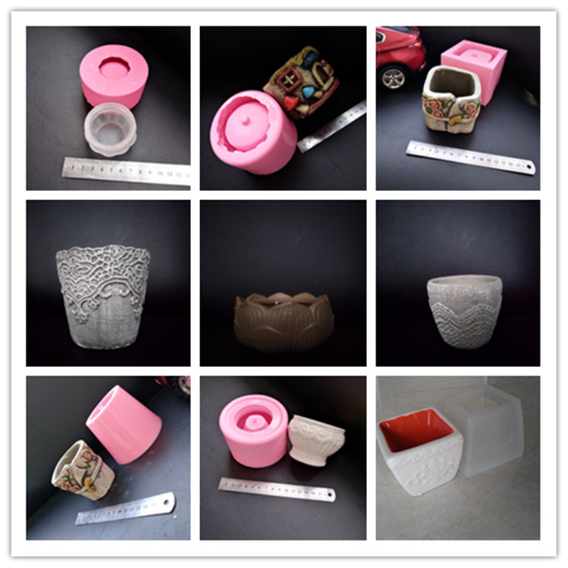 Countryside Gardening Concrete Pot Making Silicone Molds Round Rectange Square flowerpot mold for cement clay plaster mould in Clay Molds from Home Garden