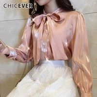 CHICEVER Summer Sweet Lace Up Bow Collar Women Shirt Puff Sleeve Pearl Button Slim Female Top Clothing 2019 Korean New Tide