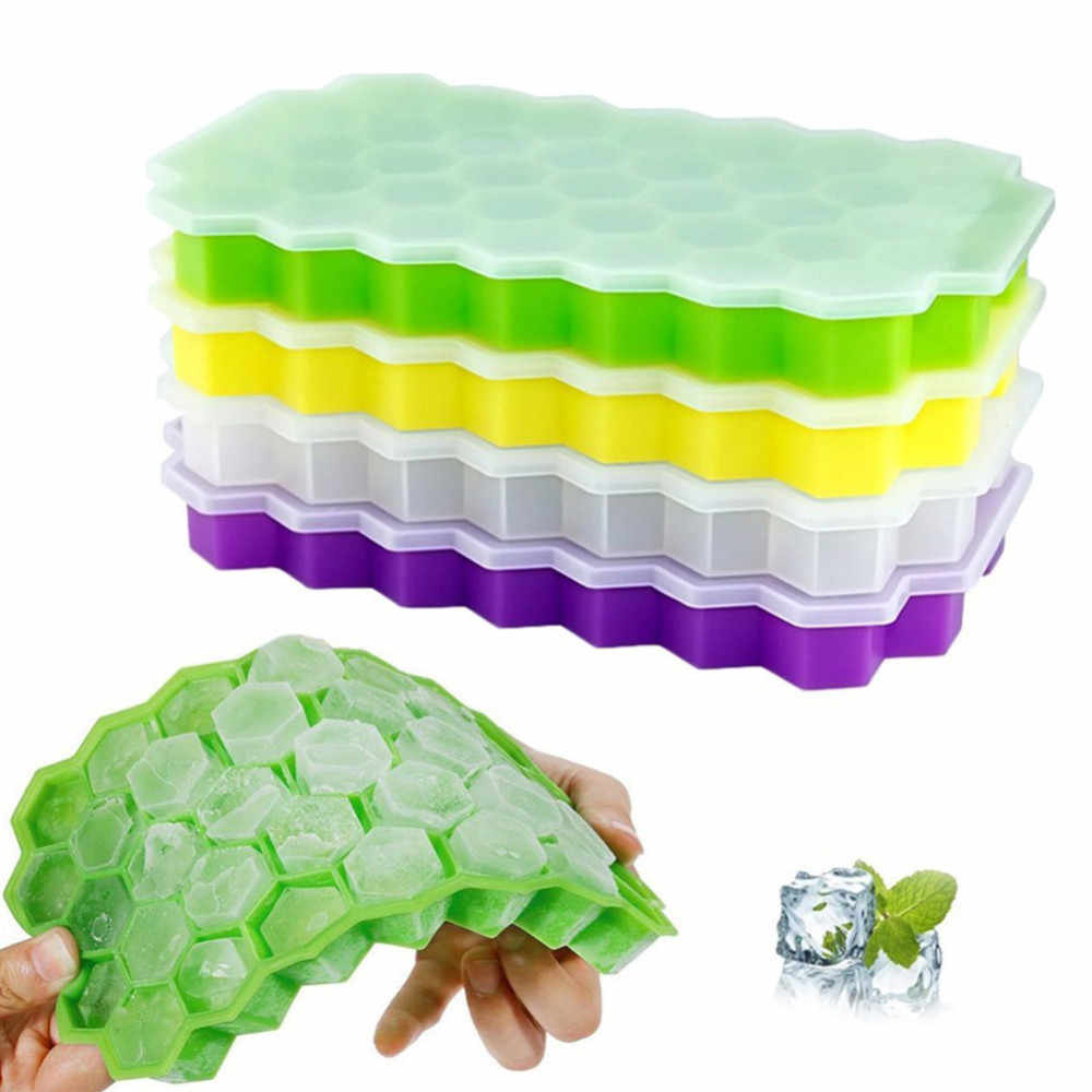 Large Honeycomb Shape 37 Cubes Ice Cube Tray Mold Lid Storage Containers Ice Cube Mould Home Kitchen Summer Drink Cooling Bag B4