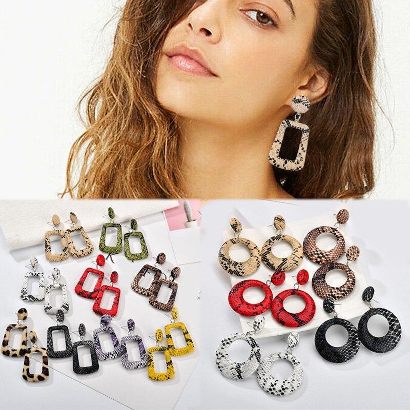 Leather  Tortoise  Geometric  Drop Earrings  Print  Jewelry Leopard Shell  Women   Snake
