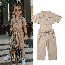 Модный комбинезон в английском стиле для маленьких девочек; детский летний комбинезон с короткими рукавами и поясом; брюки; Повседневный Свободный комбинезон
