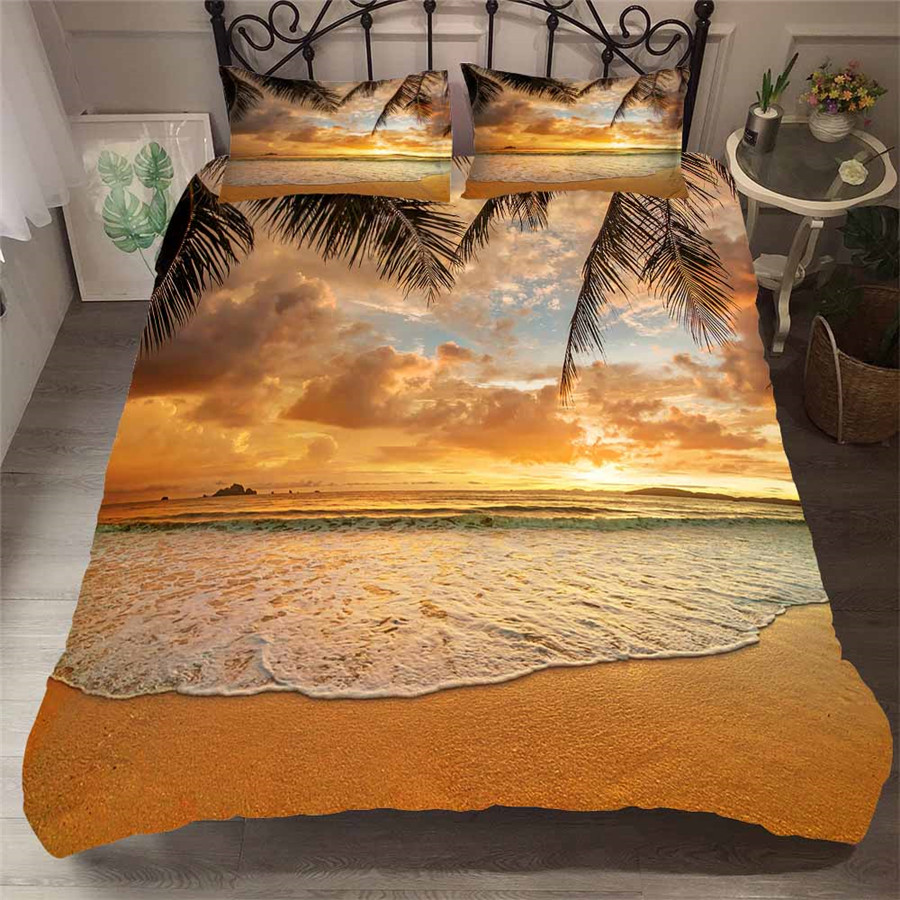 Bedding Set 3D Printed Duvet Cover Bed Set Beach Coconut Tree Home Textiles For Adults Bedclothes With Pillowcase HL31