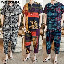 INCERUN 2020 Men Sets Ethnic Style Print Loose V Neck Short Sleeve T Shirt & Pants Retro Casual Clothes 2 Pieces S-5XL