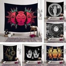 Индийская МАНДАЛА ГОБЕЛЕН настенный хиппи психоделический гобелен природа Солнце Луна карта колдовство Таро стена Бохо Декор для спальни ковер