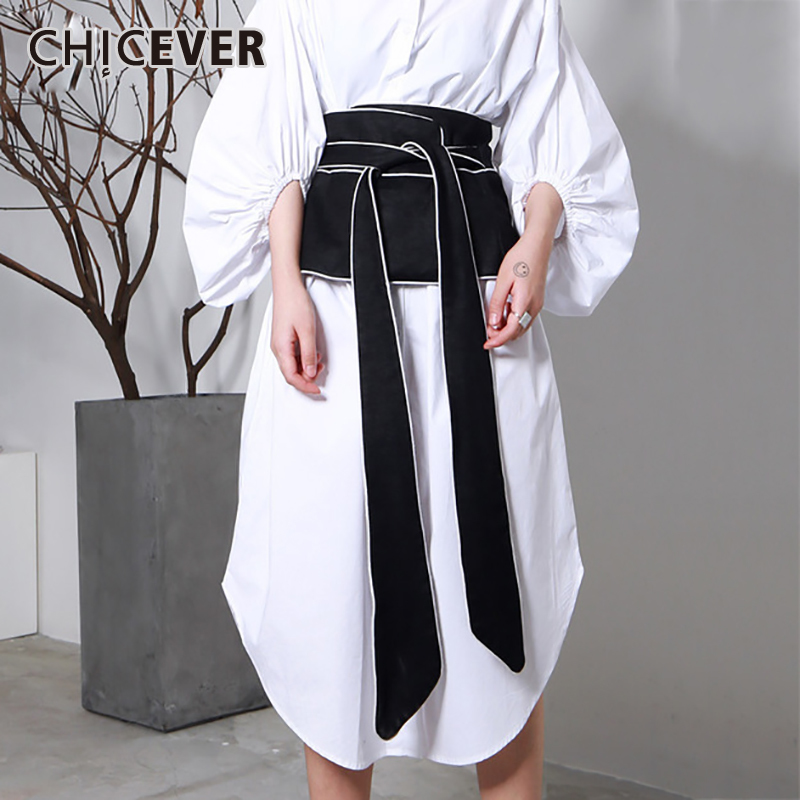 CHCEVER 2020 Spring Vintage Stripped Belt For Women Cummerbunds Black Slim Casual Shirt Decoration Belts Fashion New