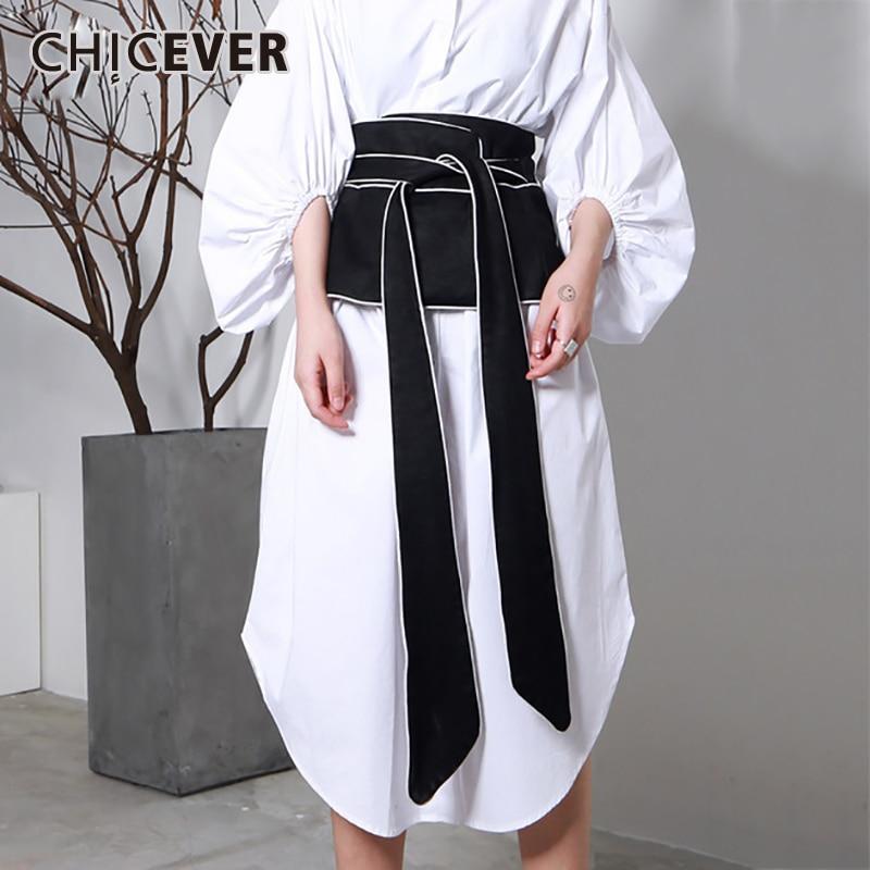 CHCEVER 2020 Spring Vintage Stripped Belt For Women Cummerbunds Black Slim Casual Shirt Decoration Belts Fashion New