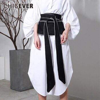 Chcever 2020 Lente Vintage Stripped Voor Vrouwen Cumberbanden Zwarte Slanke Casual Shirt Decoratie Riemen Mode Nieuwe