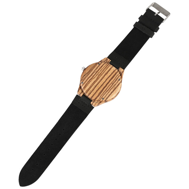 Clock Stripe Wooden Men's Watches Quartz Male  Casual Sport Watch Man Black Soft Leather Strap Wristwatches Gifts 2019 New