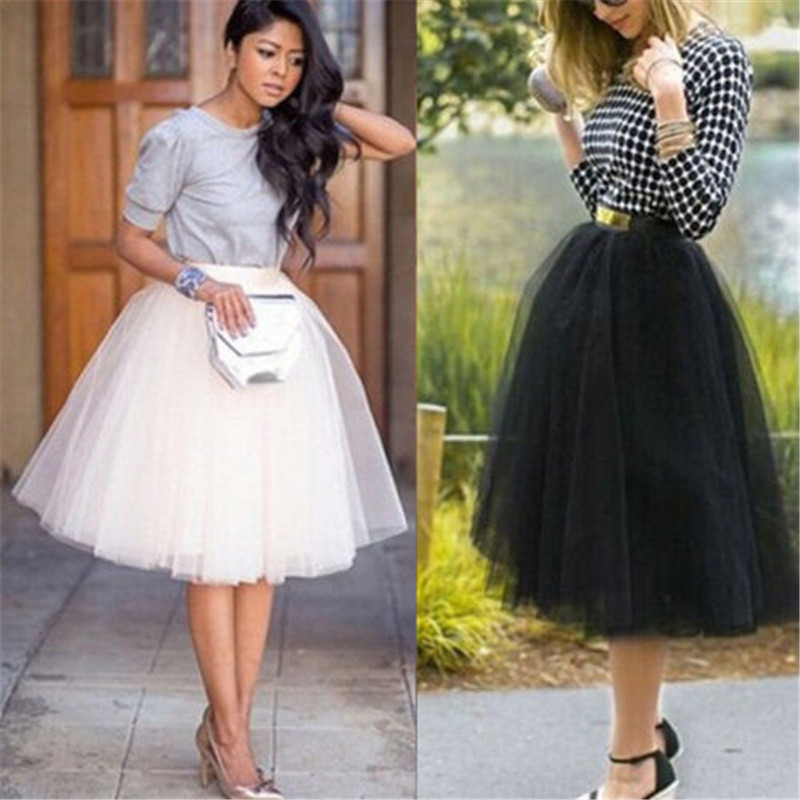 Fashion Sweet Women's Multi-Layers Tulle Skirt Long Shirts Princess Ballet Tutu Dance Prom Party Skirts Black White Skirt S-XL