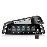 10 дюймовый Dash Cam Видеорегистраторы для автомобилей потоковый медиа Двойной объектив зеркальная поверхность нажатие на экран ТВ приставка з