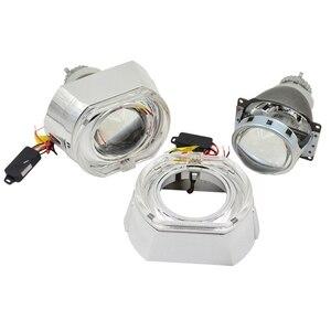 Image 2 - Lentille de projection au xénon caché, 3.0 pouces H4Q5 Bi, support métallique D2S D2H, ampoule au xénon, pour LED jours de course, yeux dange, décoration de voiture, 2 pièces