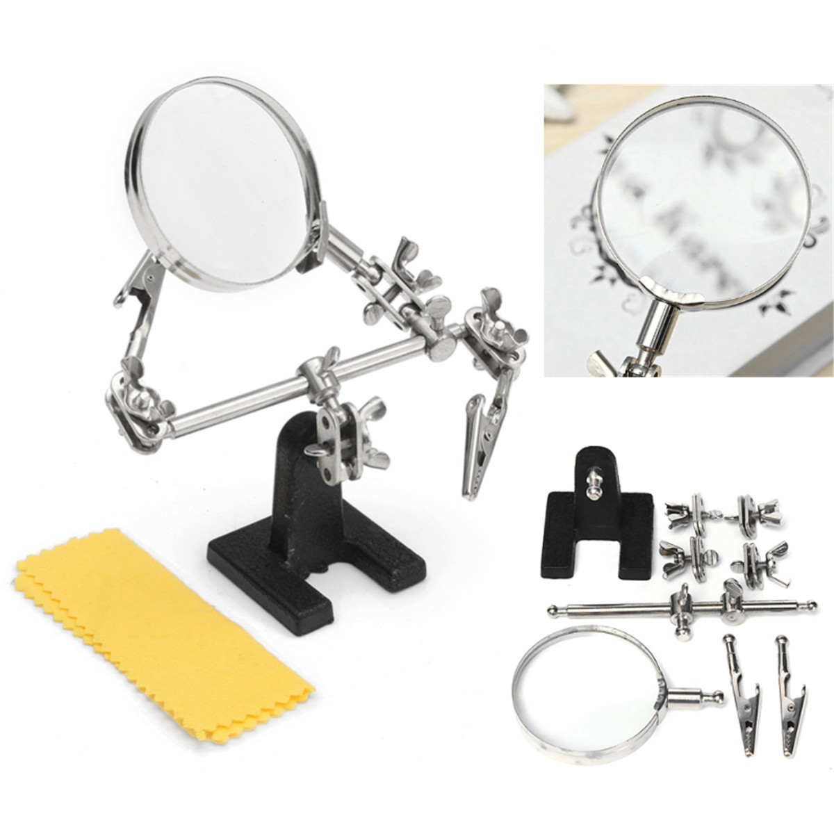 Third Hand Soldering Iron Stand Welding Tool With Magnifying Glasses Magnifier Alligator Clip Holder Clamp Helping Hand Repair