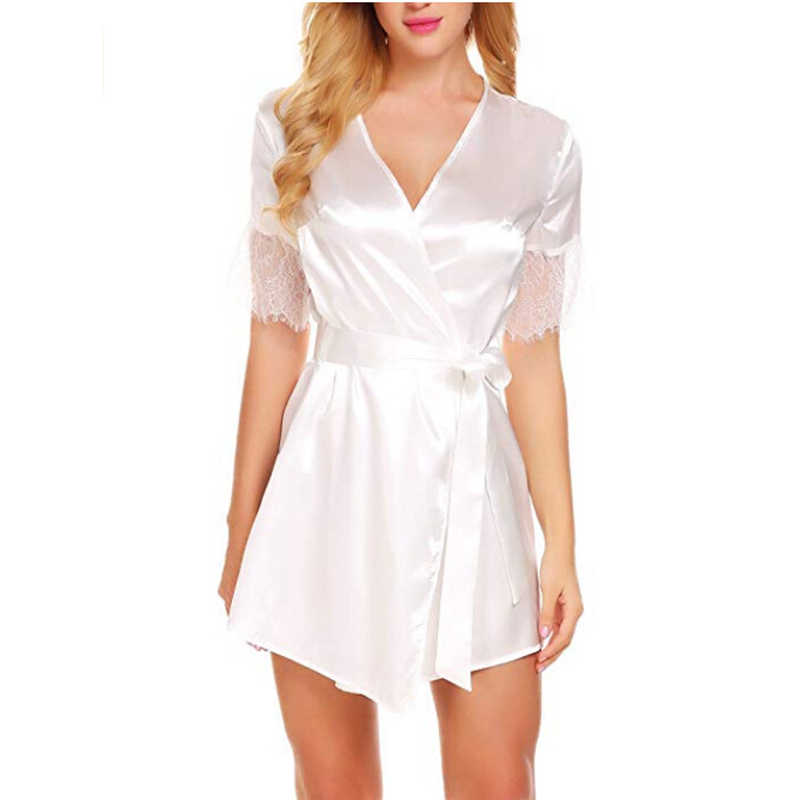 658568f62f Bridesmaid robe Long Robes with lace Bathrobe Bridesmaid Kimono Bath Robe  Fashion For Women Autumn mesh