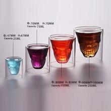 Creative 4 Sizes Wine Glass Designer Skull Head Shot Mug Fun Transparent Party Doo Vaso Copo Beer