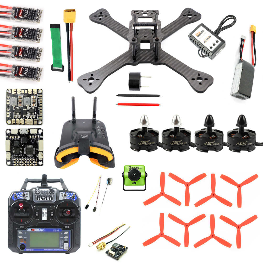 DIY TX5-210 210mm 2,4G RC Drone Quadcopter Mini SP F3 Caddx Turbo S1 noche versión Cámara 5,8G VTX Monitor FPV gafas