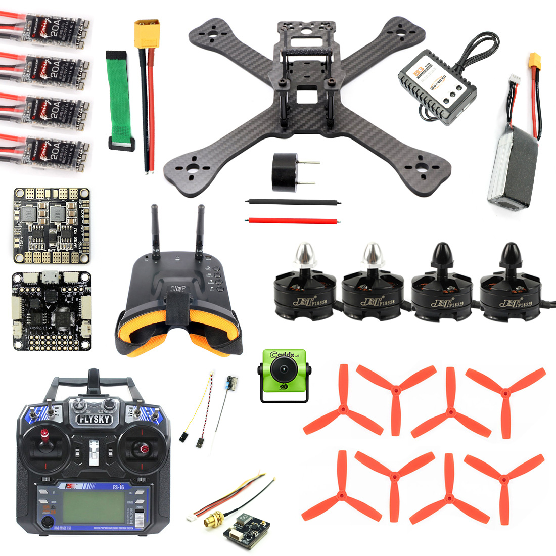 DIY TX5-210 210mm 2.4G RC <font><b>Racing</b></font> <font><b>Drone</b></font> Mini Quadcopter SP F3 Caddx Turbo S1 Night Version Camera 5.8G VTX <font><b>FPV</b></font> Monitor Goggles image