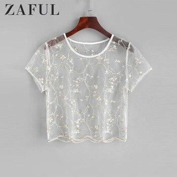 14845e4bc18f ZAFUL Tops mujer Floral bordado transparente tul Crop Top ahuecado encaje  camiseta mujer elegante Blusas cuello redondo ropa corta
