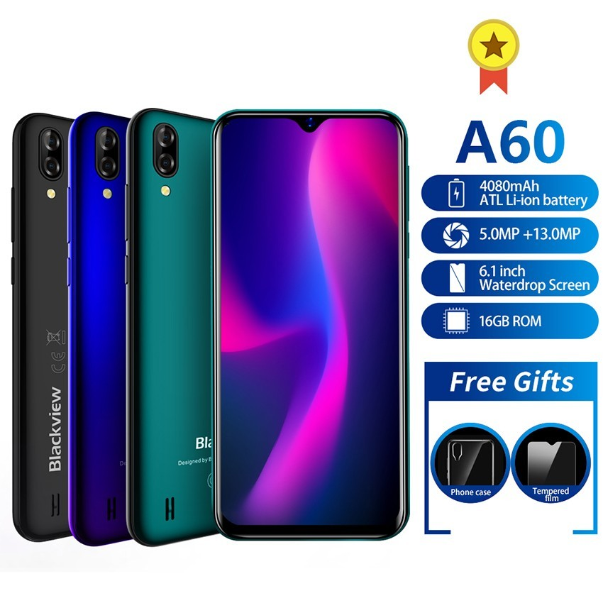 Blackview A60 Smartphone Android 8.1 Quad Core 4080mAh 1GB+16GB Mobile Phone 6.1 Inch 19.2:9 Screen Dual Camera 3G Cell Phones