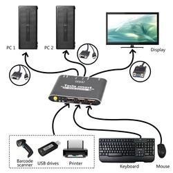 Tesla smart 1080P 2-Port 2x1 VGA Kabel KVM Schalter mit Kabel 2x1 1080P Unterstützt USB 2.0 Gerät Control bis zu 2 Computer etc