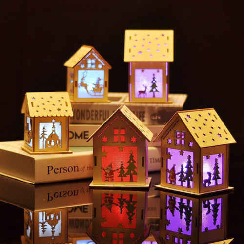 Merry Christmas LED Light Wood House Christmas Xmas Tree Hanging Ornaments Holiday Christmas Home Decoration for New Year