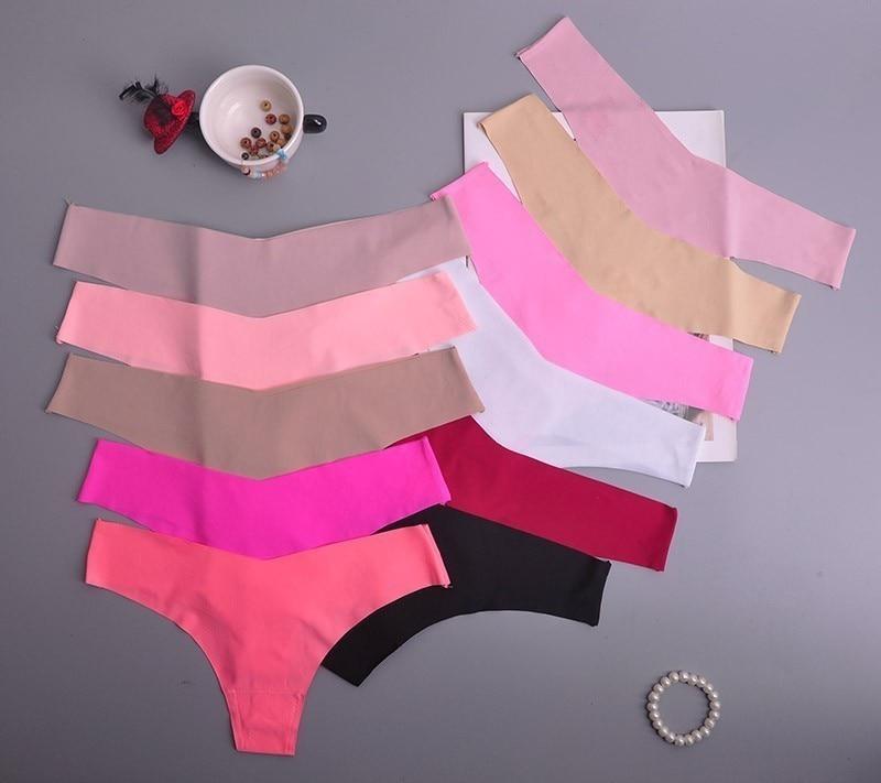 Hot Silk Sexy Women Thongs G String Seamless Panties Female Underwear Tanga Panties Low-Rise Lingerie Panty Intimates 2pcs Ac125