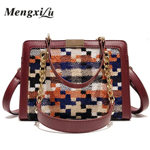 hot deal buy fashion patchwork women handbags leather wool shoulder bags ladies chain top-handle one-shoulder strap crossbody bags sac a main